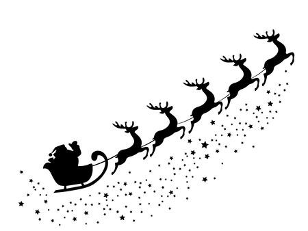 silueta: ilustración vectorial de Santa Claus volando con los ciervos
