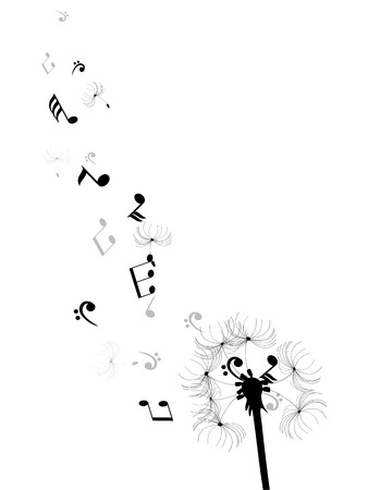 notes music: vector illustration of a dandelion flower with musical notes