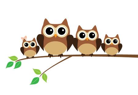 árbol genealógico: ilustración vectorial de una familia búho sentado en el árbol