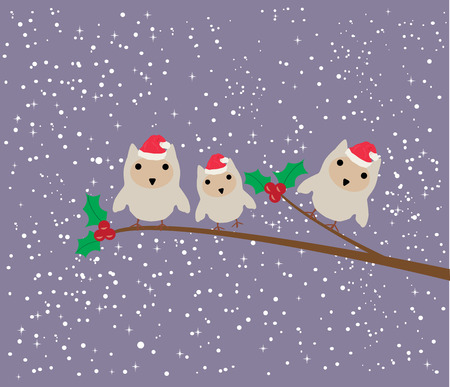 owl family: vector illustration of an owl family sitting in the tree