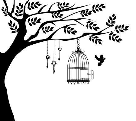 silhouette fleur: Vector illustration d'un oiseau en cage vintage avec des colombes