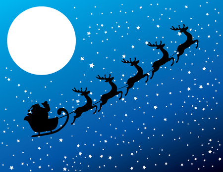 night suit: vector illustration of Santa Claus flying with deer