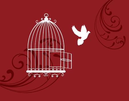 paloma volando: ilustraci�n vectorial de una jaula abierta con el vuelo paloma