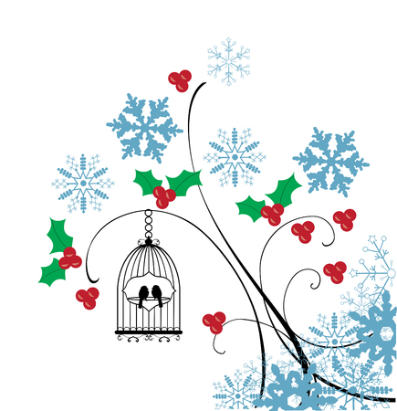 cute couple: vector illustration of a vintage winter card with bird cages and snowflakes