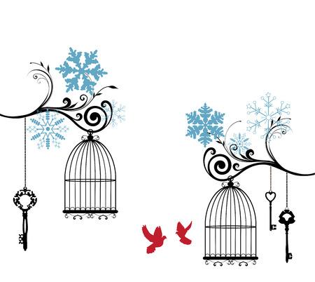 matrimonio feliz: ilustración vectorial de una tarjeta de invierno de la vendimia con jaulas y los copos de nieve de aves Vectores