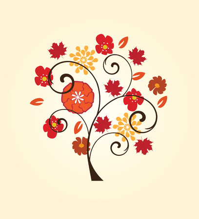 vine border: vector illustration of a tree with fall elements Illustration