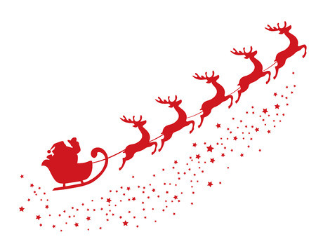 scene: vector illustration of flying Santa Claus Illustration
