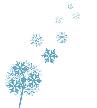 dandelion snow: vector illustration of a dandelion flower made of snowflakes