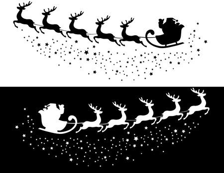 trineo: ilustración vectorial de Santa Claus volando
