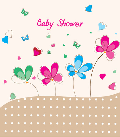 infant baby: vector illustration of a baby shower card with flowers