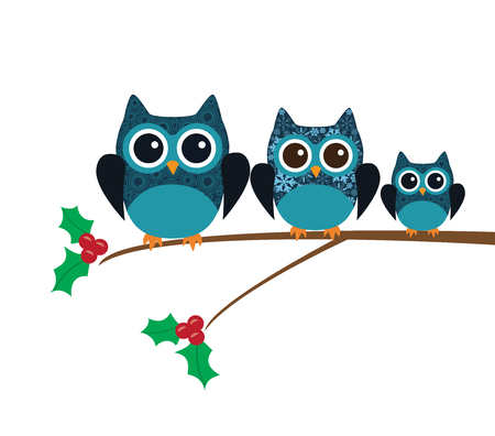 owl illustration: vector illustration of fun owl Christmas card Illustration
