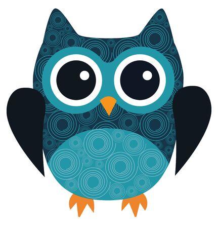 owl illustration: vector illustration of fun owl with swirls Illustration