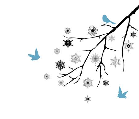 birds on branch: vector illustration of snow branch