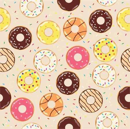 vector illustration of seamless donuts background Иллюстрация