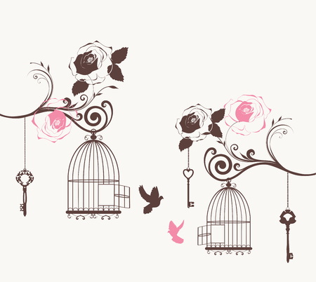 birds in tree: vector illustration of a vintage cage with doves