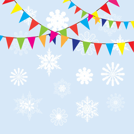 vector illustration of bunting with snowflakes