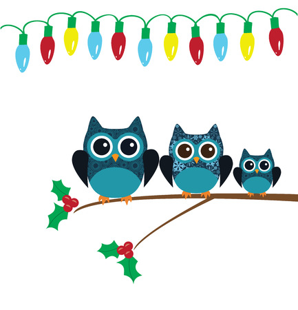 owl illustration: vector illustration of Christmas card with owls Illustration