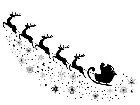 papa noel en trineo: ilustración vectorial de Santa Claus volando con renos Vectores