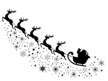 vector illustration of Santa Claus flying with reindeer Zdjęcie Seryjne - 48536978