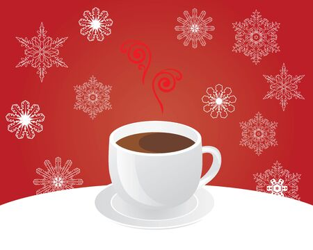 exhalation: vector illustration of coffee cup on the table with Christmas snowflake background