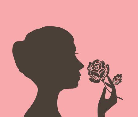blanco negro: Ilustración vectorial de una silueta de chica con una rosa