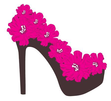 fashion design sketch: vector illustration of a floral shoe