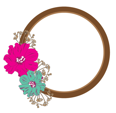 vector illustration of a mirror with vintage flowers