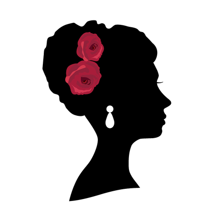 blowing: vector illustration of a girl bride head silhouette with roses