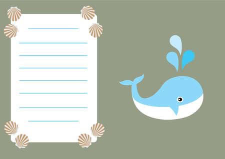 ベクトル、鯨の赤ちゃんシャワーまたは招待状カードのイラスト