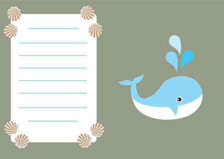 vector illustration of baby shower or invitation card with a whale