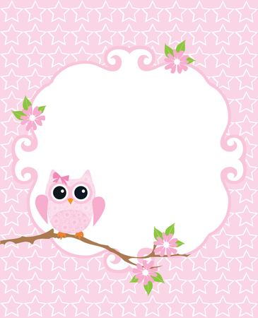 babies: vector illustration of baby shower or invitation card with owl