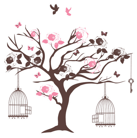 happy couple: vector illustration of a vintage tree with open cages, roses, doves