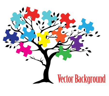 vector illustration of a tree with puzzle peaces. business concept Vettoriali