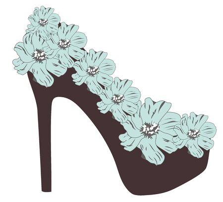 high heel shoe: vector illustration of a floral high heel shoe Illustration