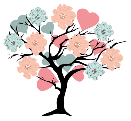 cute animal cartoon: vector illustration of a valentine tree with hearts