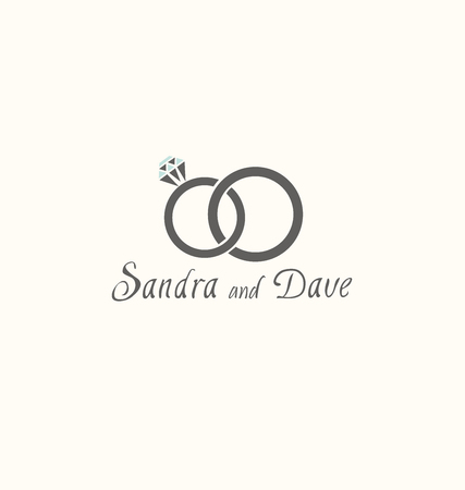 vector illustration of two wedding rings isolated on white background Vectores