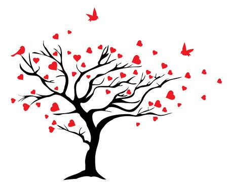 illustration vectorielle d'un arbre de valentine avec coeurs
