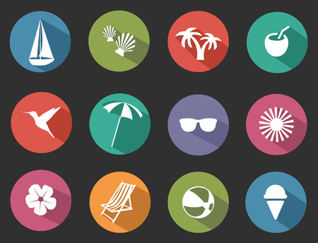 vector illustration of set of flat tropical icons Illustration