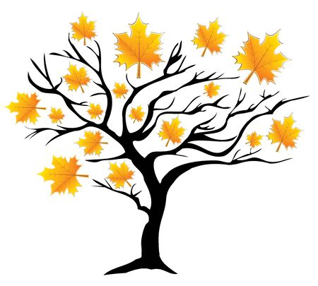 vector illustration of a fall tree with leaves Illustration
