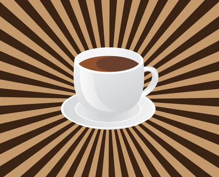 vector illustration of a cup of coffee with sunburst background