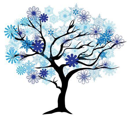 ilustración vectorial de un árbol de invierno con copos de nieve