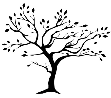 vector illustration of a tree silhouette with leaves isolated on white background
