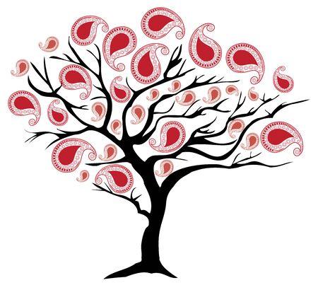 indische muster: Vektor-Illustration eines Baumes mit Paisley-Dekoration Illustration
