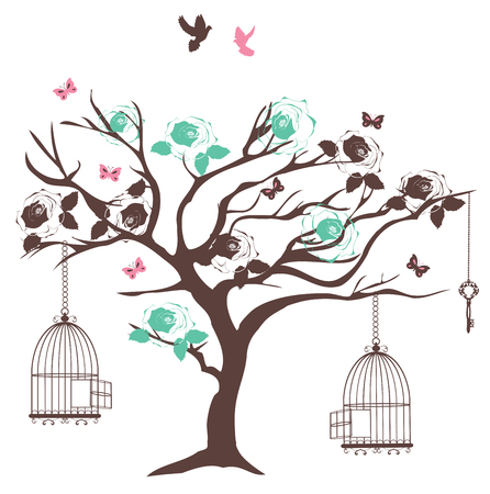 birds in tree: vector illustration of a vintage tree with bird cages and flowers