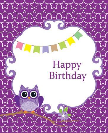 ilustración vectorial de una ducha de bebé o tarjeta de cumpleaños con el búho