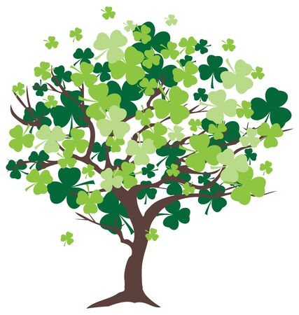 irish culture: vector illustration of a shamrock grunge leaf with red heart petal