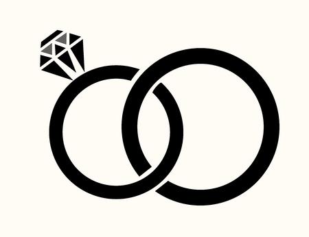 argollas matrimonio: ilustración vectorial de los anillos de boda aislado Vectores