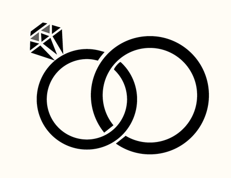 vector illustration of wedding rings isolated Illustration