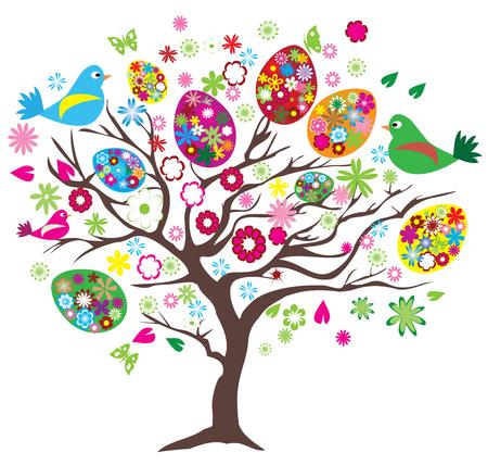 arbol de pascua: ilustración vectorial de árbol de Pascua con los pájaros, huevos, flores