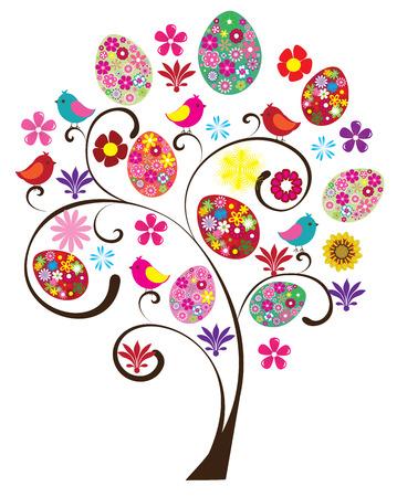 arbol de pascua: Árbol del vector de Pascua con aves y huevos florales